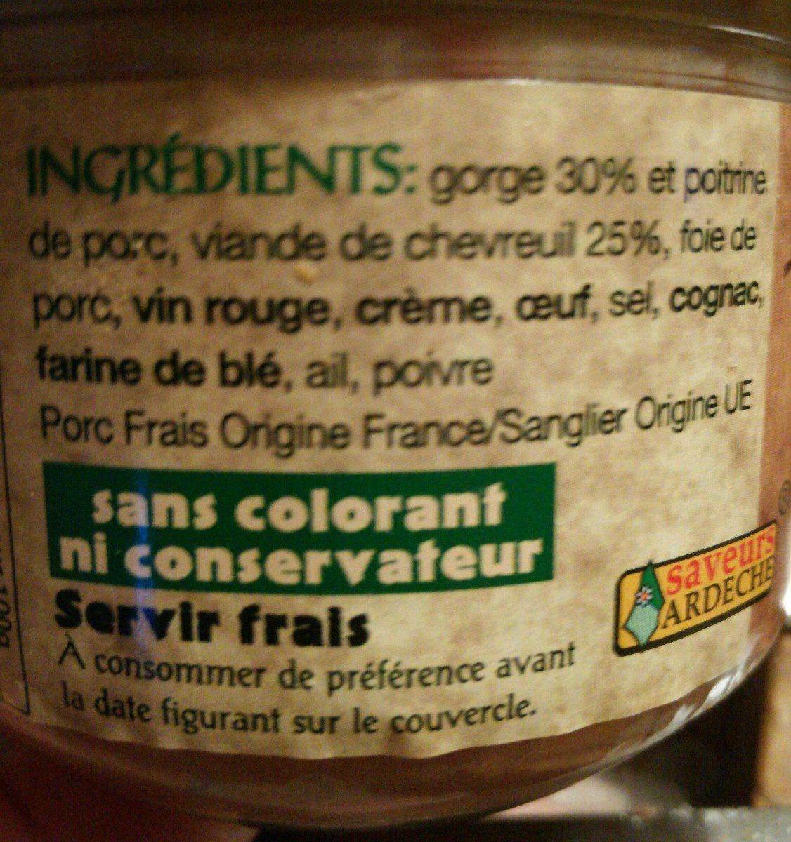 Terrine de chevreuil - Ingrédients