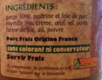 Terrine de Porc aux myrtilles - Ingrediënten