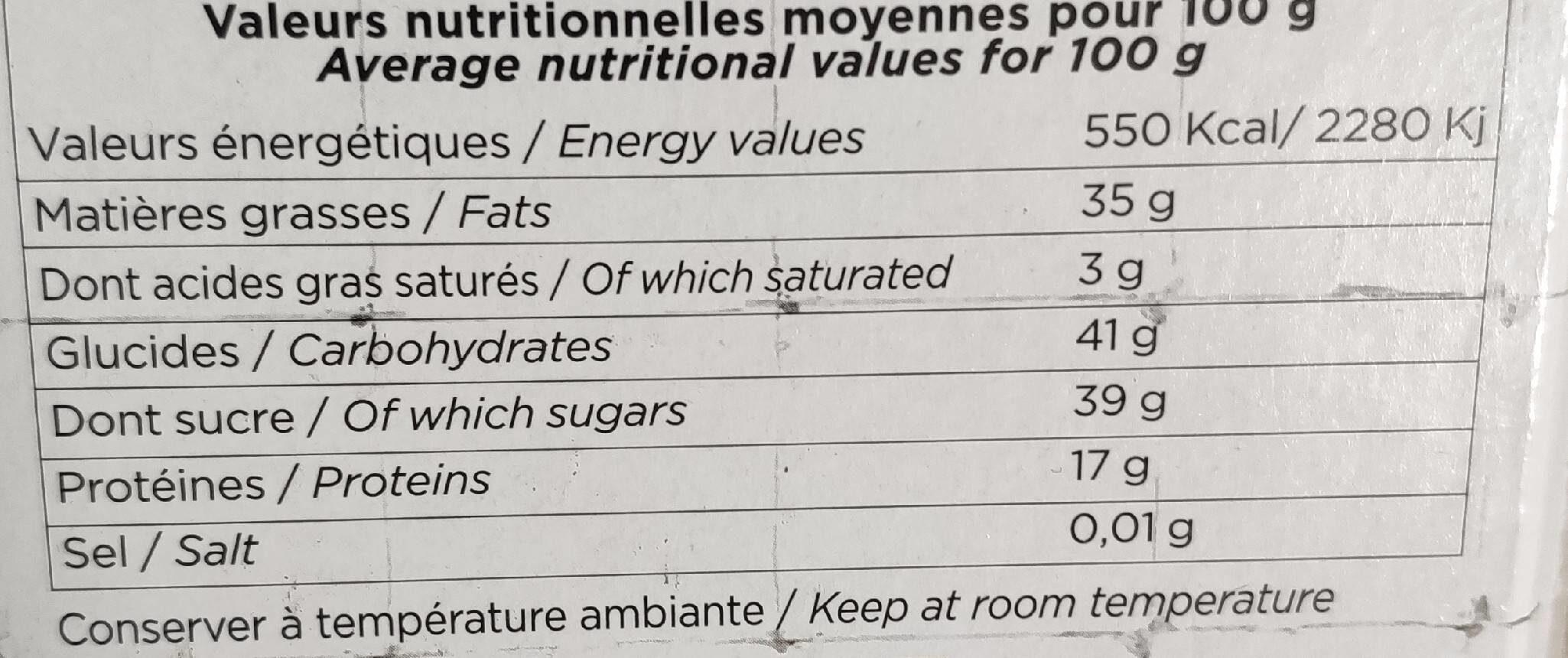 Turròn de Jijona - Nutrition facts