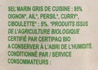 Sel Marin de l'Île de Noirmoutier aux herbes & légumes bio - Ingrediënten
