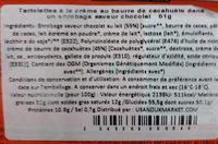 Beurre de cacahuète enrobé de chocolat - Ingrédients
