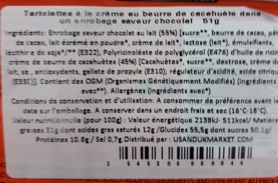 Beurre de cacahuète enrobé de chocolat - Ingredients