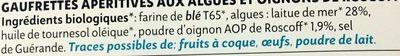 Gaufrettes apéritives aux algues & à l'oignon de roscoff - Ingrédients - fr
