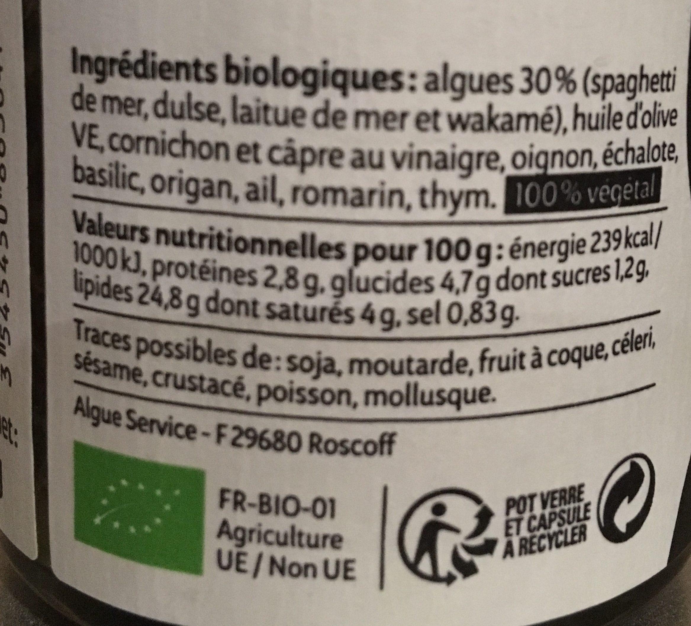 Tartare d'algues - Ingredients