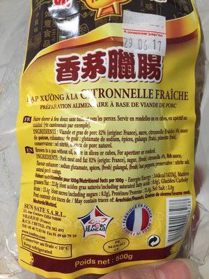 Saucisse citronnelle - Informations nutritionnelles - fr