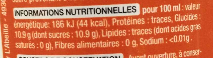 Paris Cola - Valori nutrizionali - fr