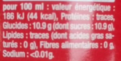 Cola - Informations nutritionnelles - fr
