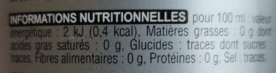 Paris Cola Zéro - Informations nutritionnelles