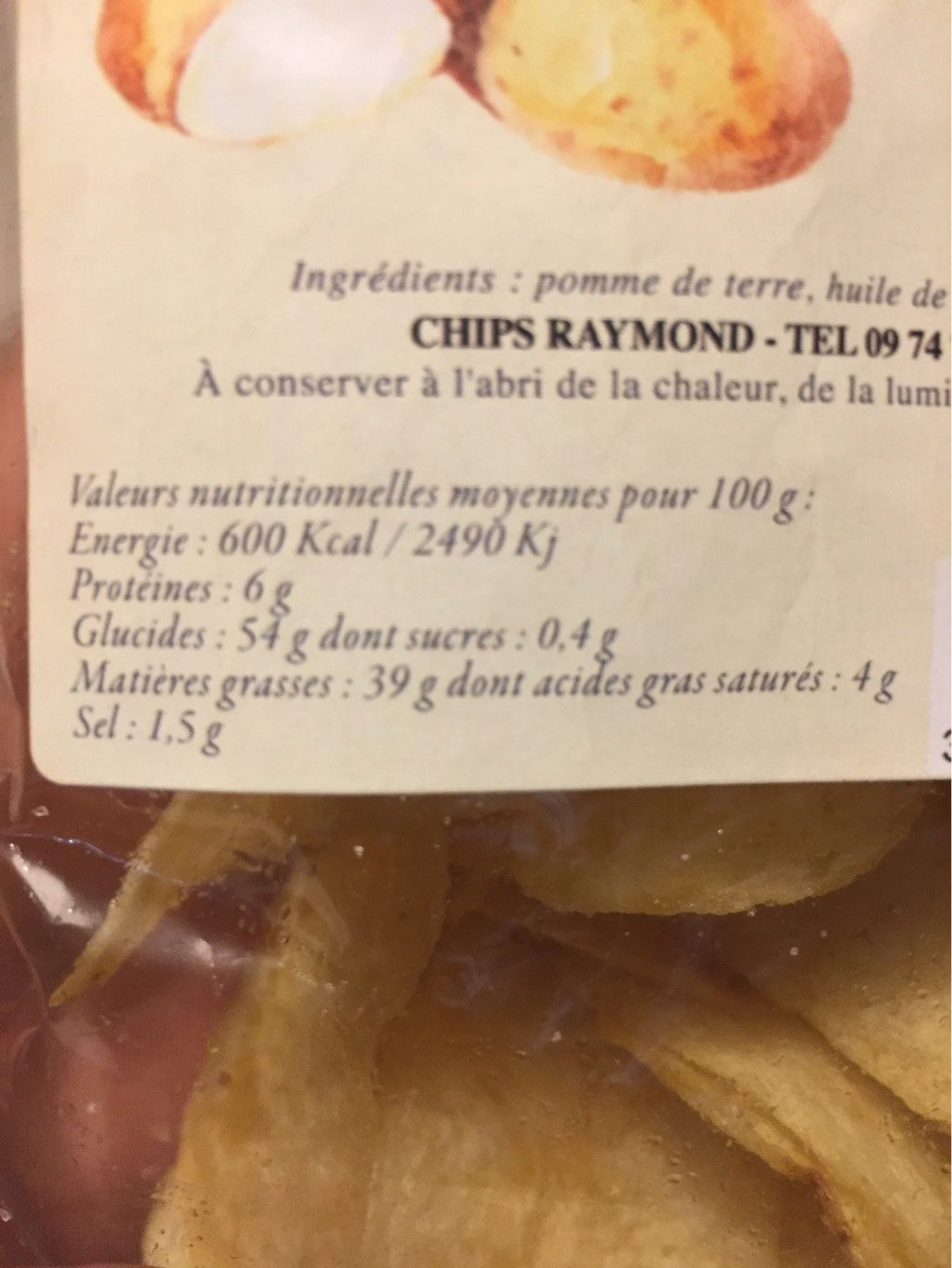 Chips - Informations nutritionnelles