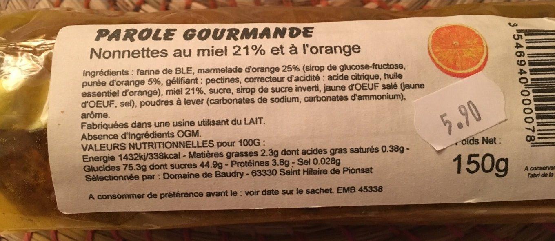 Nonnettes au miel 21% et à l'orange - Produit - fr
