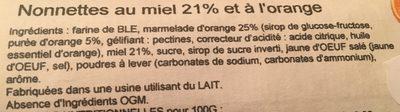 Nonnettes au miel 21% et à l'orange - Ingrédients - fr