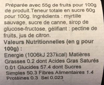 Confiture Extra Myrtille Sauvage - Ingredienti - fr