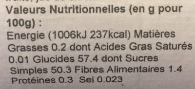Confiture Extra Myrtille Sauvage - Valori nutrizionali - fr