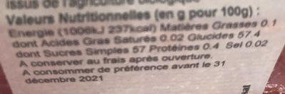 Confiture biologique fraise - Nutrition facts - fr