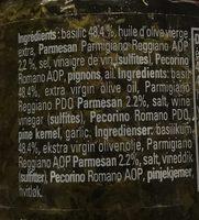 Pesto basilic & parmesan - Ingrédients