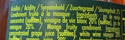 Douceur de vinaigre à la mangue - Ingredients - fr