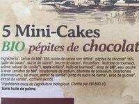 5X35G Cake Pepites De Chocolats Bio - Ingredients - fr