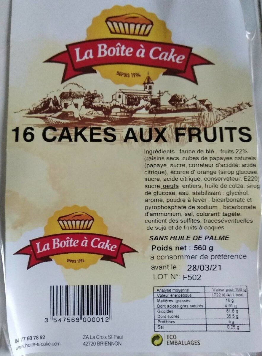 Cakes aux fruits - Voedingswaarden - fr