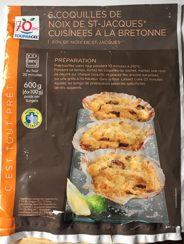 6 coquilles noix de st jacques la bretonne 60 toupargel - Coquille saint jacques bretonne champignons ...