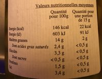 Lucques Olives Vertes Nature - Nutrition facts
