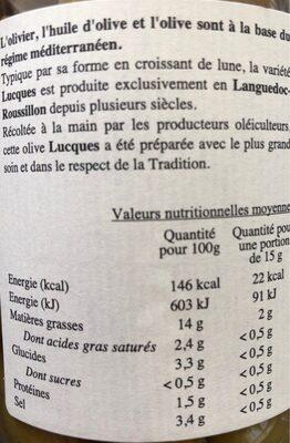 "Grüne ""Lucques"" Oliven Nature - Nutrition facts - fr"