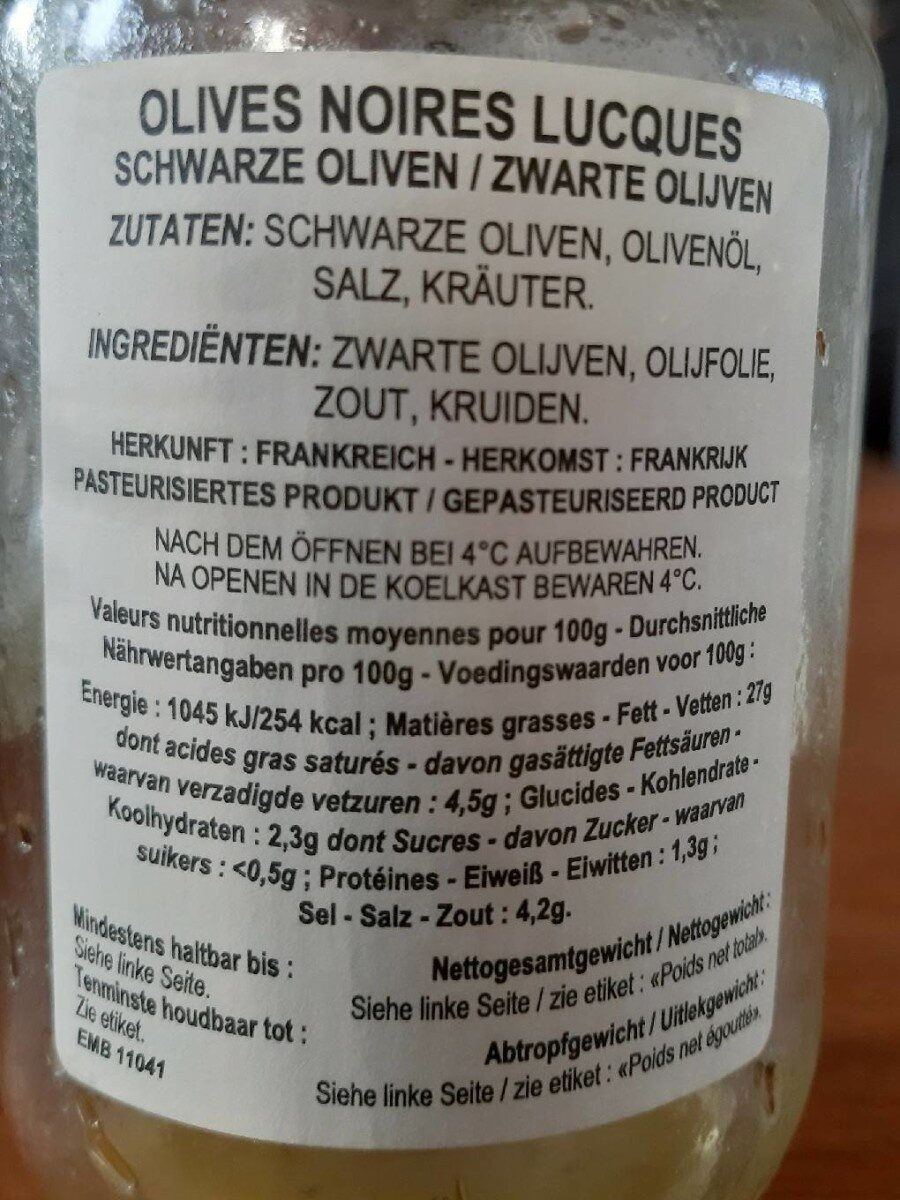 Lucques Oliven Sorte Gourmet - Nutrition facts - fr