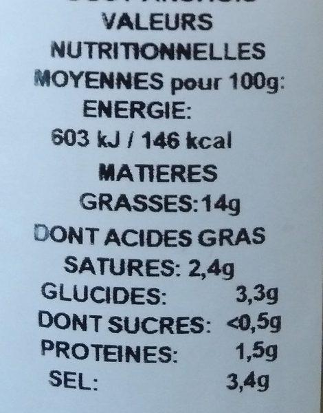 Olives vertes  gout anchois - Voedingswaarden - fr