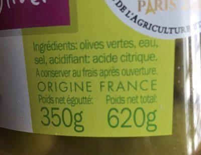Olives vertes lucque seau - Ingredients
