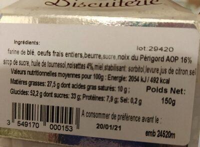 Les lolottes aux noix du perigord - Nutrition facts