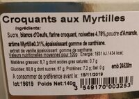 Croquants aux myrtilles - Nutrition facts - fr