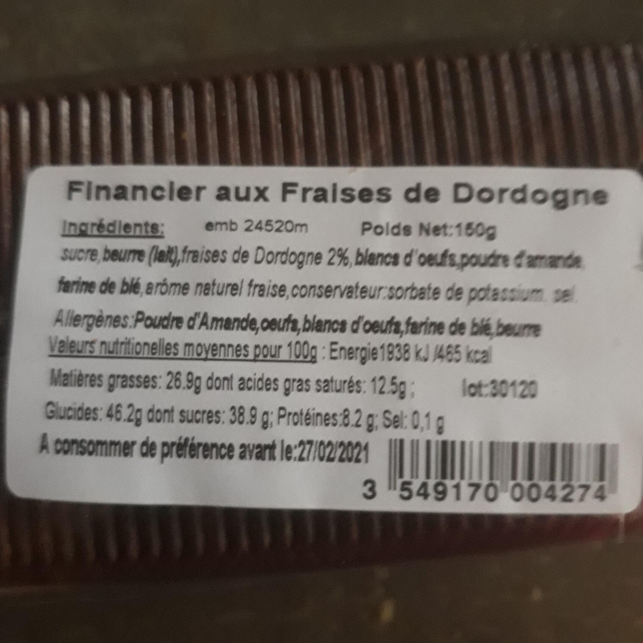 Financier aux Fraises de Dordogne - Ingredients - fr
