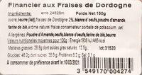 Financier aux Fraises de Dordogne - Nutrition facts - fr