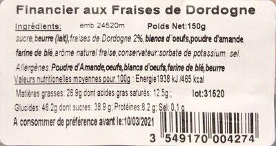 Financier aux Fraises de Dordogne - Nutrition facts