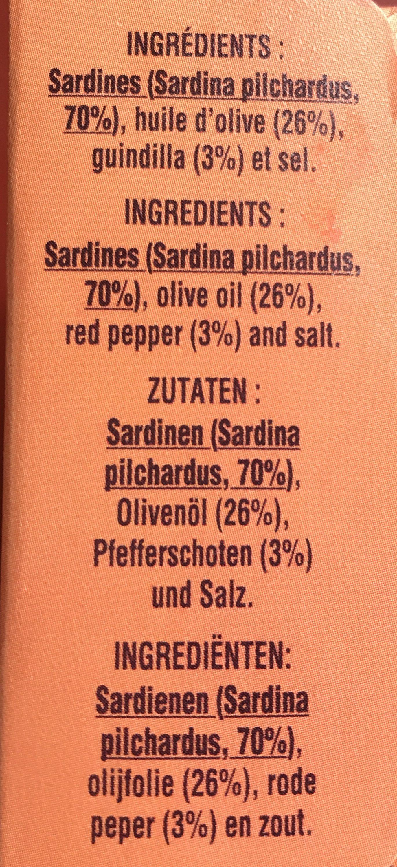 Petites sardines piquantes à l'huile d'olive et Guindilla - Ingrédients