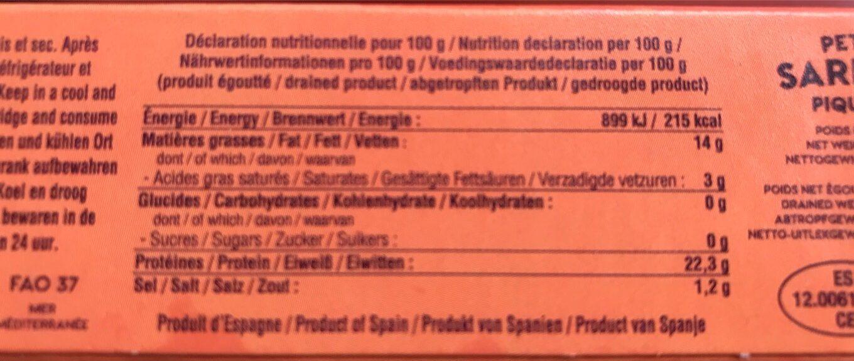 Petites sardines piquantes à l'huile d'olive et Guindilla - Informations nutritionnelles