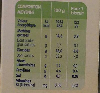 Mes Premiers Boudoirs Vanille Picot - Nutrition facts