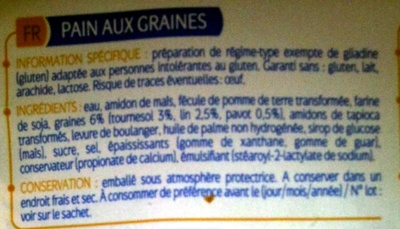 Pain aux graines Allergo sans gluten - Ingredients