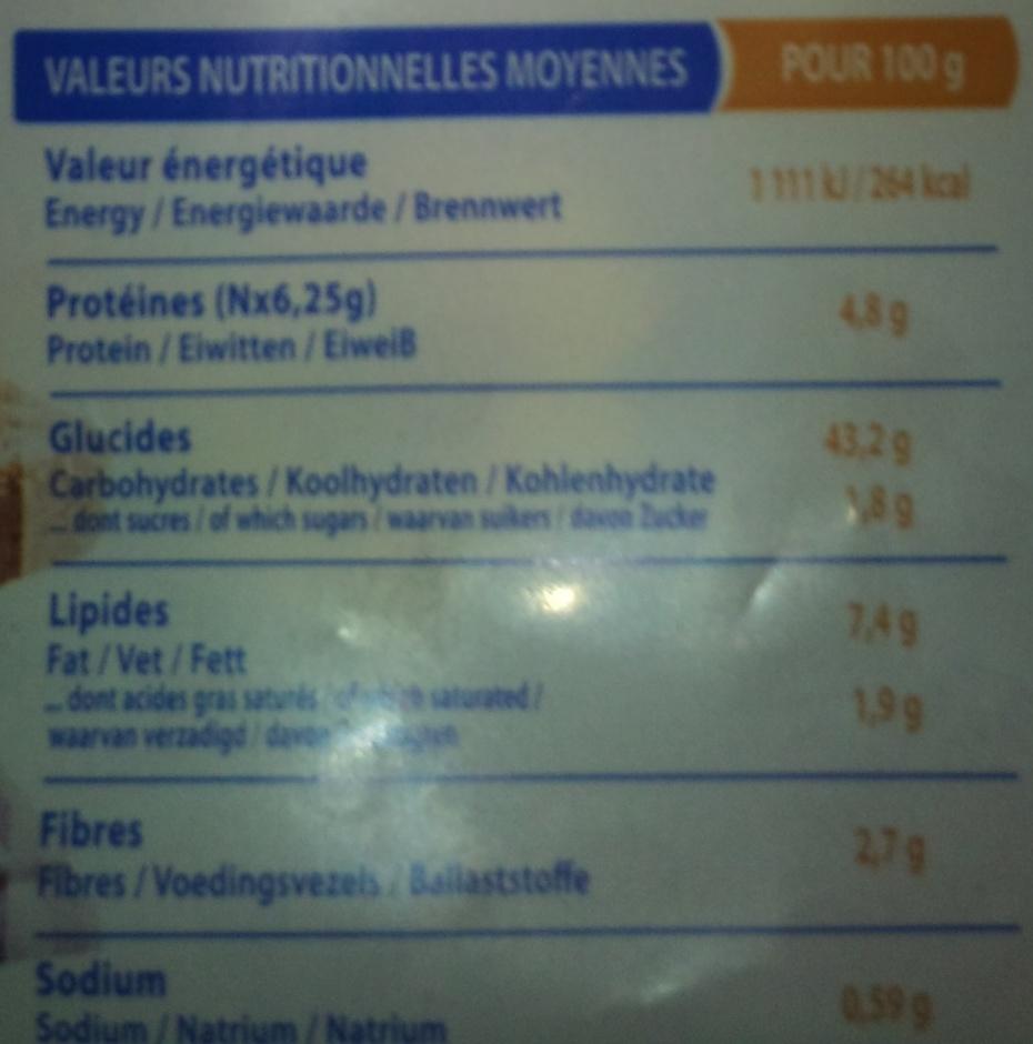 Pain aux graines Allergo sans gluten - Informations nutritionnelles - fr