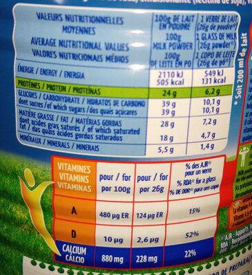 Lait entier en poudre instantanée - Informations nutritionnelles - fr