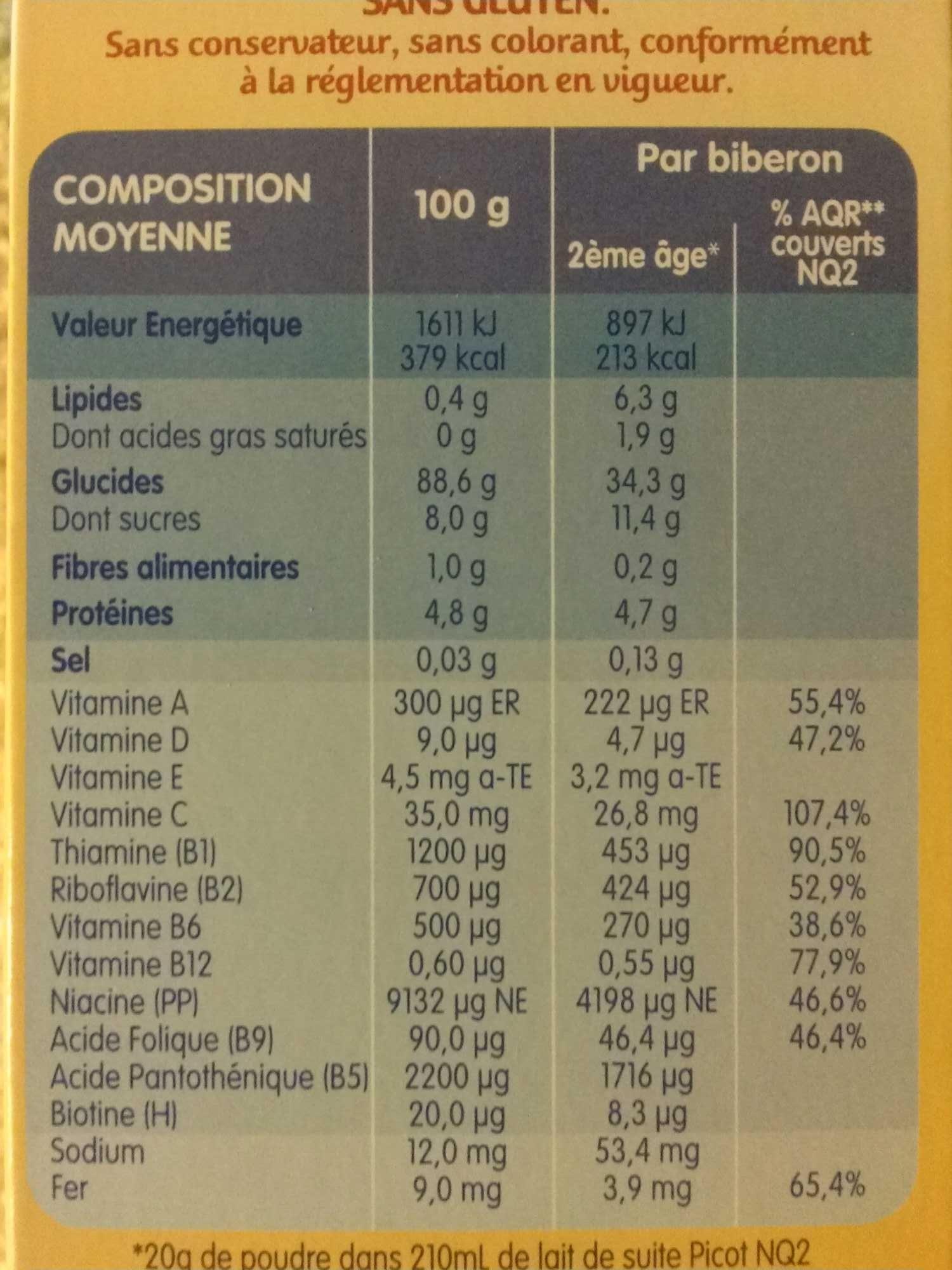 Mes 1ères Céréales Carottes - Valori nutrizionali - fr