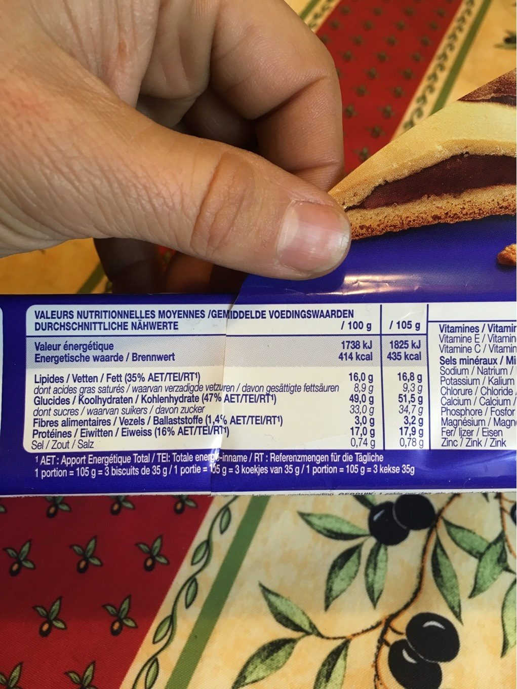 Nutra'cake chocolat - Informations nutritionnelles - fr