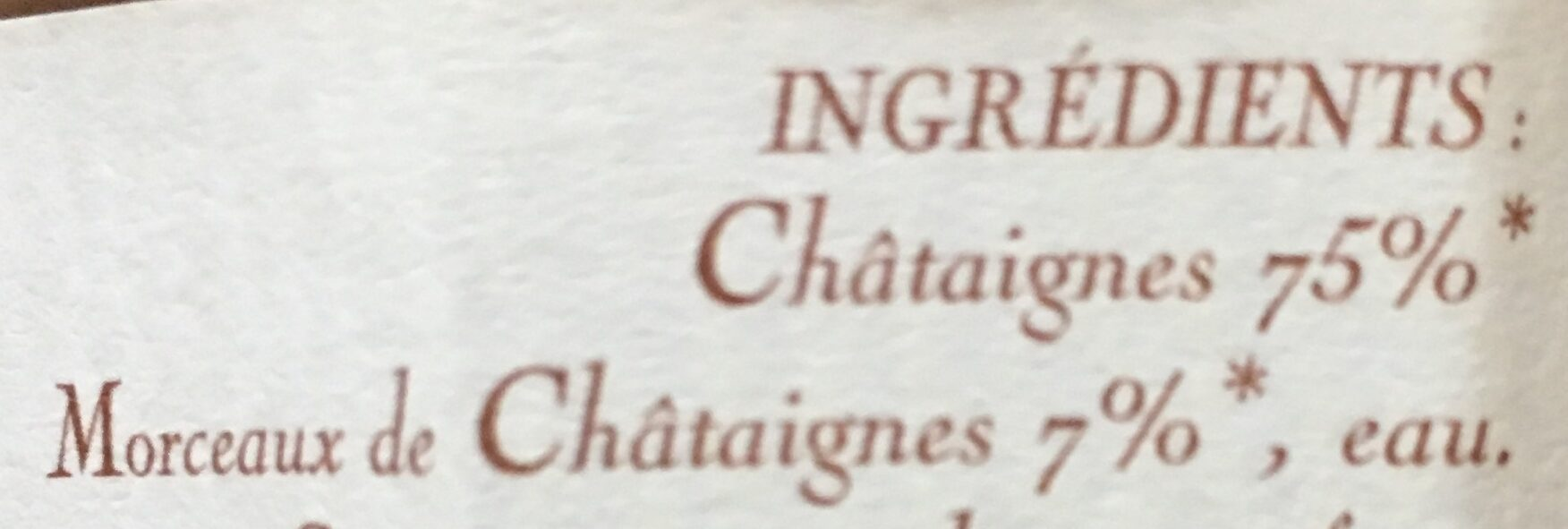 Purée de Châtaignes - Ingrédients - fr