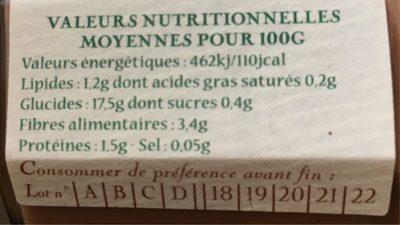 Purée de Châtaignes - Informations nutritionnelles