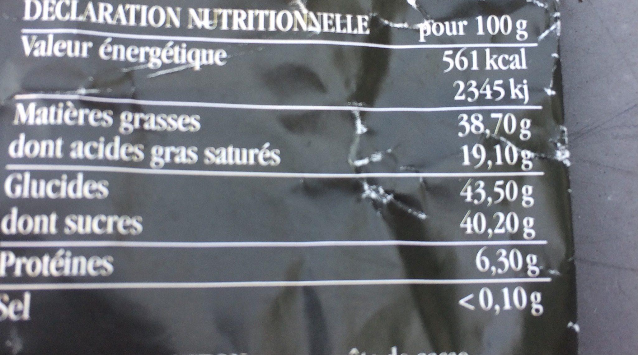 Chocolat Eclats de Noisettes - Informations nutritionnelles