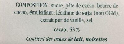 Chocolat Noir Surfin - Ingrédients