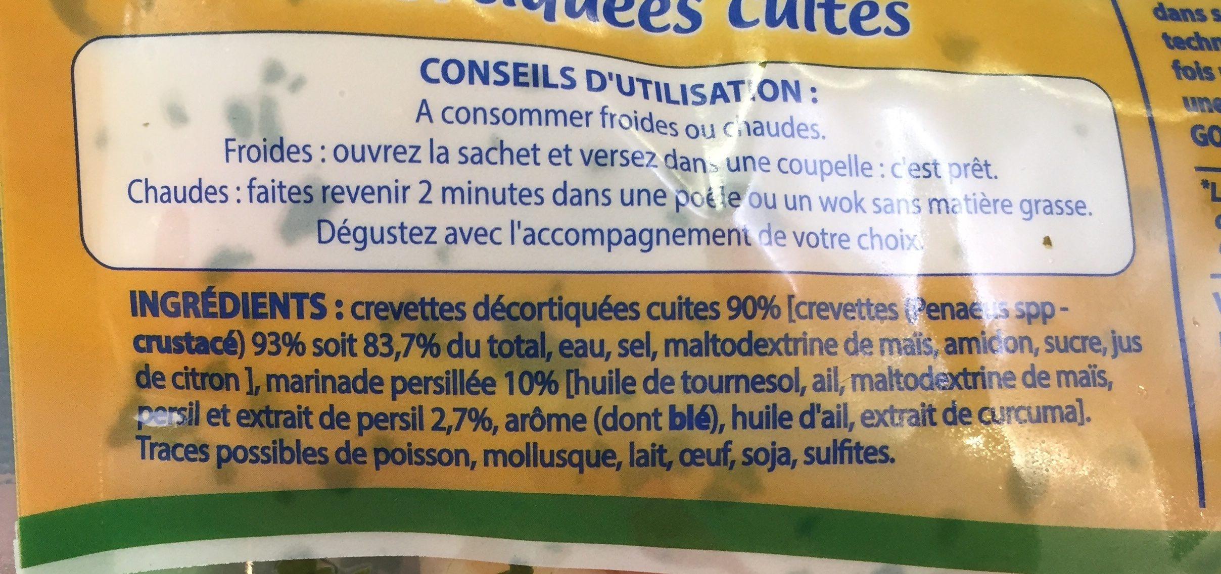 L'Assiette Bleue crevettes persillées - Ingrediënten - fr