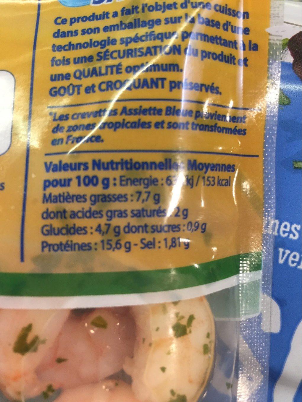 L'Assiette Bleue crevettes persillées - Voedingswaarden - fr