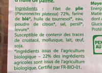 Plie Meuniere - Ingrediënten - fr