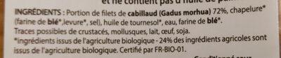 Pané de cabillaud qualité filet panure bio - Ingrediënten - fr