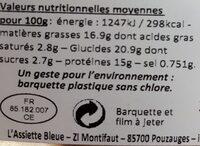Papillote de saumon et petits légumes - Informations nutritionnelles - fr